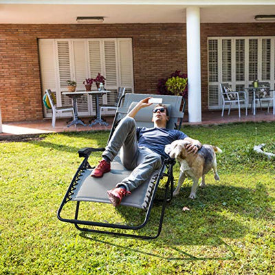 Devoko Zero Gravity Chair Outdoor Folding Lounge Chair Oversized Weight 420 Lbs Capacity Patio Recliner Chair for Poolside, Yard and Camping (Grey)