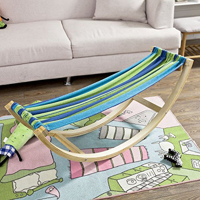 Kids Compact Rocking Hammock with with Wood Frame