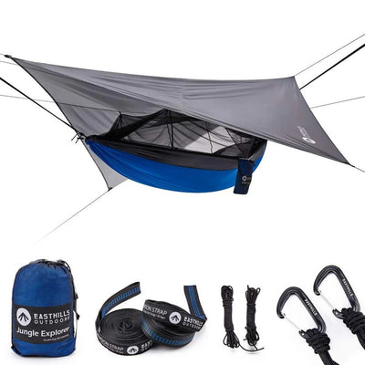 Double Bug Net Camping Hammock Tent with Waterproof Rainfly Tarp: Blue