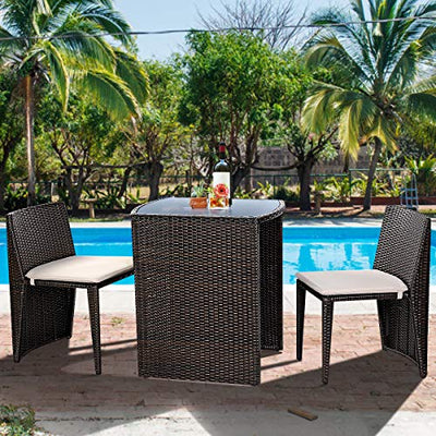 Giantex 3 PCS Cushioned Outdoor Wicker Patio Set
