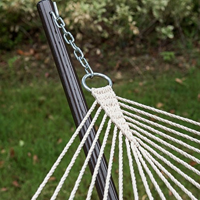 Lazy Daze Hammocks Cotton Rope Hammock with 12 Feet Steel Stand and Pillow Combo