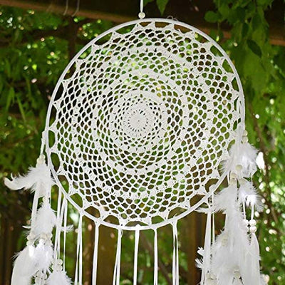 "Aglife Large White Boho Dream Catcher with White Feather Hanging Wedding Decoration Ornament Gilf, Circle 13.8"",36.2"" Long"