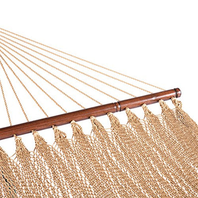 Lazy Daze Hammocks 51inch Double Caribbean Hammock Hand Woven Polyester Rope Outdoor Patio Swing Bed (Tan)