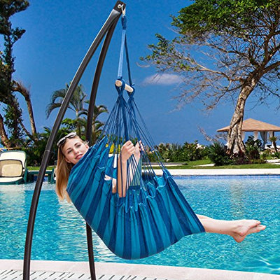 Sundale Outdoor Canvas Hanging Hammock Swing Chair Seat with Wood Spreader Bar and 2 Cushions (Seaside Stripe)