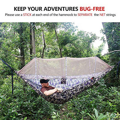 Sunyear Single & Double Camping Hammock with Mosquito/Bug Net