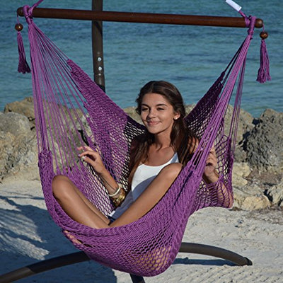 Caribbean Hammocks Chair with Footrest: Purple