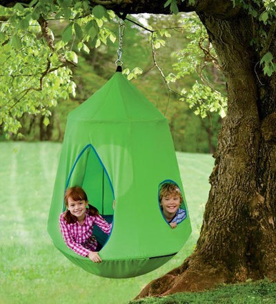 Nylon Canvas HugglePod HangOut with LED Lights, in Green