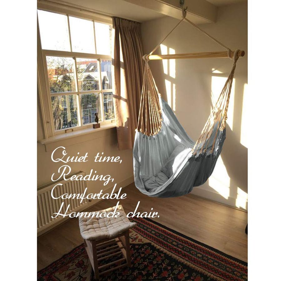 Chihee XXL Hammock Chair Extra Large Sized Hammock Chair Relax Swing Chair Cotton Weave for Superior Comfort Durability for Indoor Outdoor Bedroom Patio Yard Garden