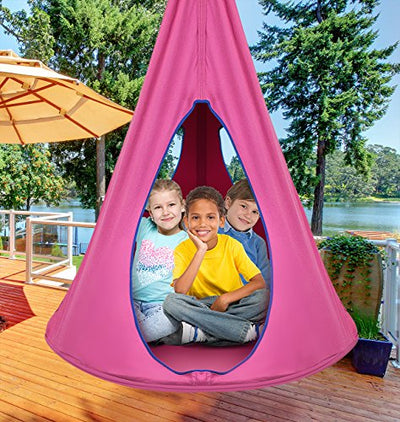Sorbus Kids Nest Swing Chair Hangout: Pink
