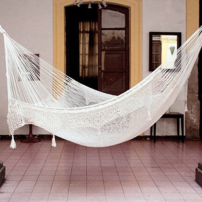 NOVICA Ivory Off White Hand Woven Cotton Mayan 2 Person XL Rope Hammock with Crochet Fringe, Caribbean Sands' (Double)
