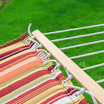 LazyDaze Hammocks Quilted Fabric Double Size Spreader Bar Heavy Duty Stylish Hammock Swing with Pillow for Two Person, Rainbow