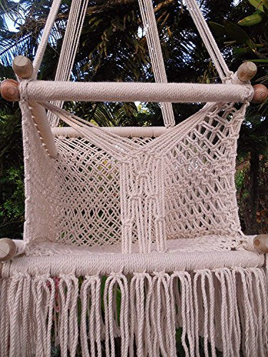 Handmade Macrame Cotton Baby Hanging Chair: Beige