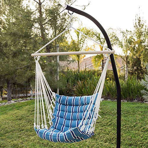Deluxe Padded Cotton Hammock Hanging Chair- Blue