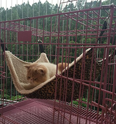 UsefulThingy Cat Hammock/Ferret, Rat, Rabbit, Small Dogs or Other Pet - Easy to Attach to a Cage - 3 Designs: Leopard