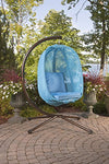 Flower House Hanging Egg Chair with Stand: Light Blue