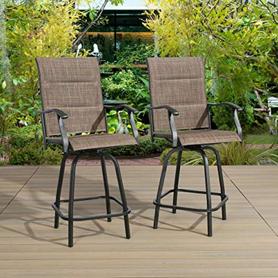Patio Swivel Bar Stools Bar-Height Outdoor Chairs Padded Textilene