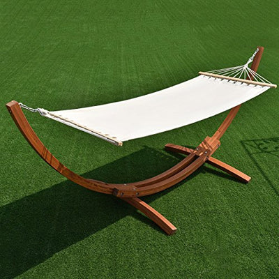 "Giantex Wooden Curved Arc Wide Hammock Swing and Stand Set,white (142""x50""x51"")"