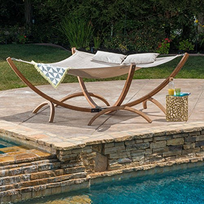 Christopher Knight Home 297262 Caritack Contemporary Outdoor Square Hammock with Stand, Teak Finish/Canvas
