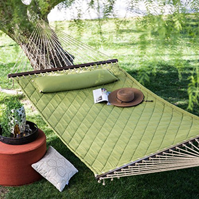 13 ft. Sage Green Diamond Stitch Quilted 2-person Outdoor Bed Hammock with Head Pillow
