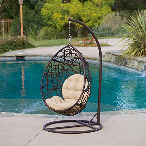 Home Outdoor Patio Brown Wicker Tear Drop Aluminum Swinging Chair