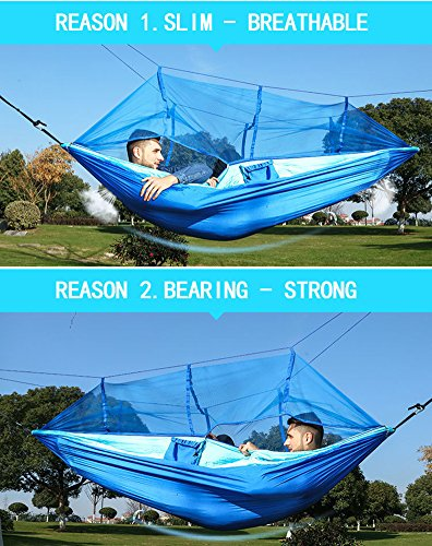 "Camping Hammock with Net Mosquito, Parachute Fabric Camping Hammock Portable Nylon Hammock for Backpacking Camping Travel, Double Single Hammocks for Camping 110""(L) x 59""(W)"