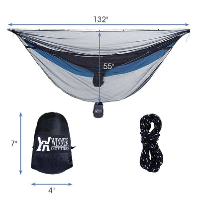 WINNER OUTFITTERS Hammock Bug Net, Polyester Mess Net for 360 Degree Protection fit for All Type Hammock,Keep Keeps No-See-Ums, Mosquitos and Insects Out,Lightweight & Portable,Easy to Set Up