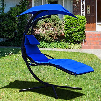 Giantex Hanging Chaise Lounger Chair: Navy