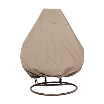 LeisureMod Wicker Hanging 2 Person Egg Swing Chair with Outdoor Cover: Beige