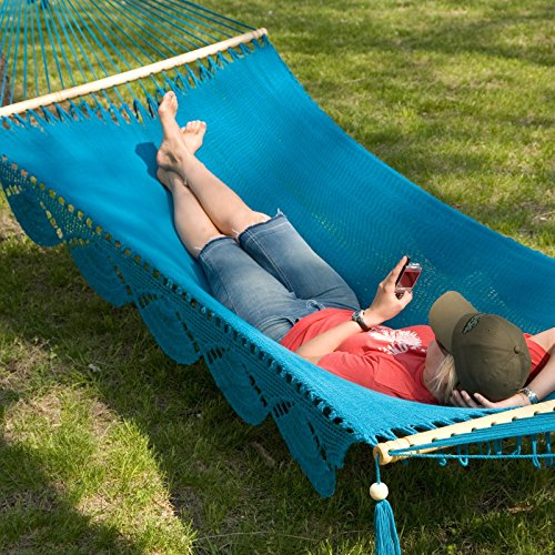 Island Bay Caribbean Hammock with Spreader Bar and Fringe: Aqua