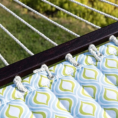LazyDaze Hammocks Quilted Fabric Hammock With Pillow Double Size Spreader Bar Heavy Duty Stylish ,Zinger Peacock