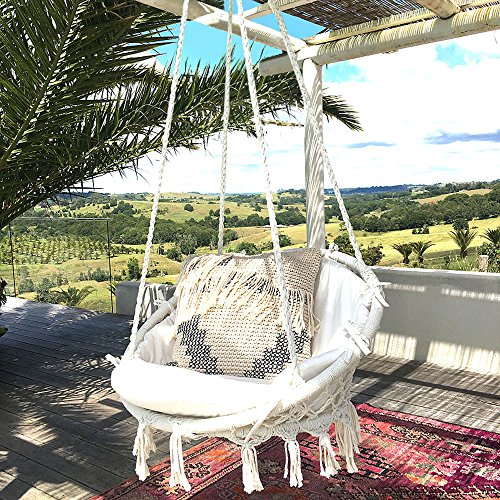 Sonyabecca Hammock Chair Macrame Swing 265 Pound Capacity Handmade Knitted  Hanging Swing Chair For Indoor/
