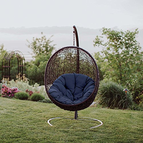 Modway Encase Wicker Rattan Outdoor Lounge Egg Swing Chair Set