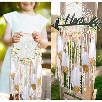 "AerWo Boho Dream Catchers Handmade White Gold Feather Dreamcatchers with Flowers for Wall Hanging Decoration, Wedding Decoration Craft (Dia 7.8"" Length 20"")"
