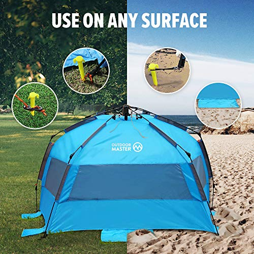 OutdoorMaster Pop Up 3-4 Person Beach Tent X-Large