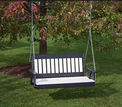 4FT-Bright White-Poly Lumber Mission Porch Swing
