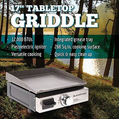Blackstone Table Top Grill - 17 Inch Portable Gas Griddle - Propane Fueled - For Outdoor Cooking While Camping