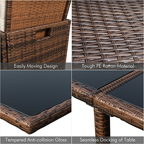 Patio Dining Sets Outdoor Space Saving Rattan Chairs with Glass Table