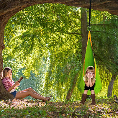 Kids Pod Swing Seat Hammock Chair: Green