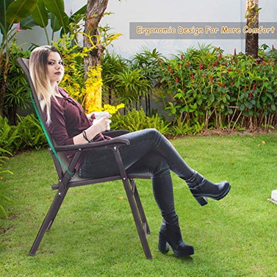 GOFLAME Patio Chairs Folding Sling Back Chairs