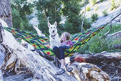 GRAND TRUNK Print Hammock - Camping Double, Tree Hanging Kit Included, Quality Nylon, Portable, Indoor Outdoor, Travel, Backpacking, Survival, Scales Design Print (Rasta)
