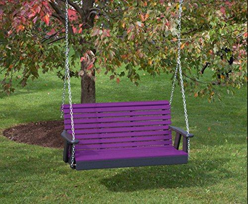 5FT-Bright Purple-Poly Lumber ROLL Back Porch Swing