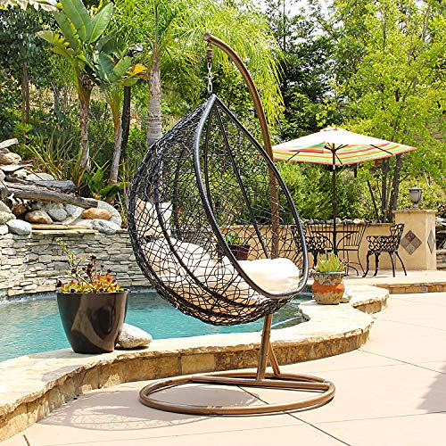 Patio Swing Chair Outdoor Wicker Plastic Tear Drop Swing