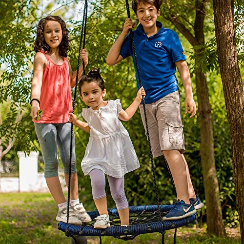 Big Elephant Play Spider Web Tree Swing - Fully Assembled - Outdoor Round Net 31 inch Diameter Rope Swing - 71 inch Rope Max 600 Lbs Attaches to Trees Swing Sets Fun for Multiple Kids or Adult (Blue)