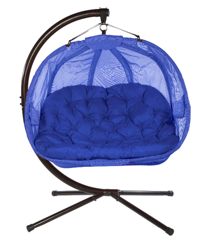 Flower House Hanging Pumpkin Loveseat Chair with Stand: Blue