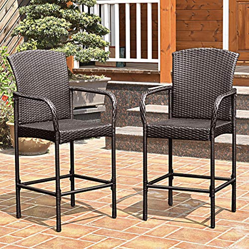 Outdoor Patio Chairs, Rattan Wicker Bar Stool with Armrest for Garden