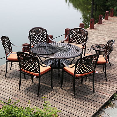 Patio Outdoor Cast Aluminum BBQ Dining Set