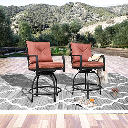 Patio Stools Outdoor Swivel Bar Height Chairs Set of 2