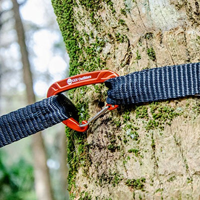 Go Outfitters - Aluminum Wiregate Carabiner for Hammocks - Supports, Sunset Orange