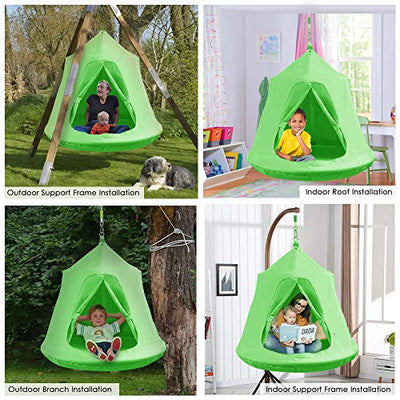 Kids Hanging Tree Tent, Swing Play House: Green
