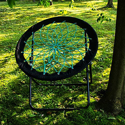 Camp Field Camping and Room Bungee Folding Dish Chair for Room Garden and Outdoor (Black)